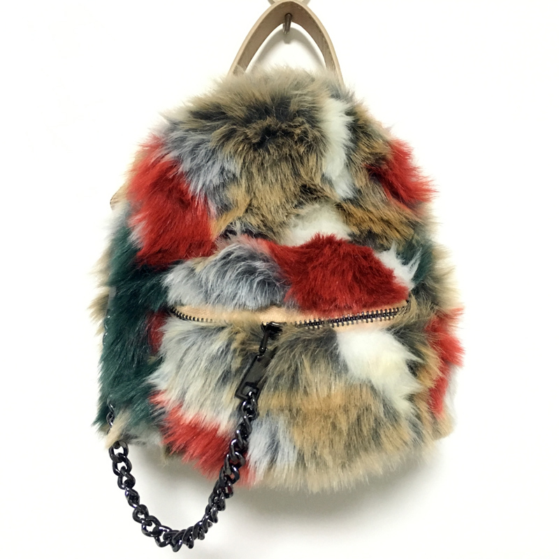 2017 New Winter Highly Recommend Faux Rabbit Hair Leather Womens Backpack Mini Ladies Bagpack with Chain Fox Fur Shoulder Bag<br>