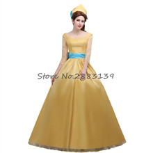 Movie  Beauty and the Beast Princess Belle Cosplay Costume Dress Custom Made Dress for  Women D288
