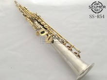 2017 New French Selmer Soprano Saxophone Nickel Plated Gold Key B Flat One tube Saxophone Instruments Music DHL / UPS Shipping