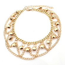 Summer Style Golden Chain Wave Bells Design Anklets For Women Ankle Bracelet Foot Jewelry Barefoot Beach Anklets