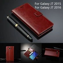Leather Phone Case Cover For Samsung Galaxy J7 2016 J710 sm-J710f J7/ Samsung J7 2015 J700 J700f Slim Flip Cover Wallet Card(China)