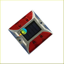 Steady mode Red LED 3M reflector aluminum driveway markers cat eyes solar road stud(China)