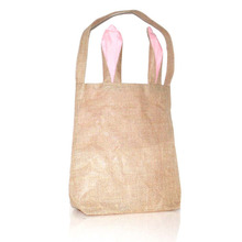 Wholesale Blanks New Unique Design Burlap Easter Tote Jute Easter Bunny bag With Bunny Ears Easter Baskets Storage Box(China)