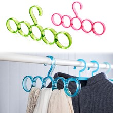 Cloth Hanger Eco-friendly 5-hole Ring Rope Slots Holder Hook Scarf Wraps Shawl Storage Hanger -46