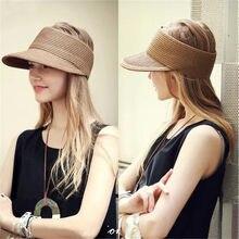 Nueva Estrella de la manera superior vacía tapas paja visera Sun sombreros  para las mujeres hombres verano plegable del sombrero. 7c3596e73b3