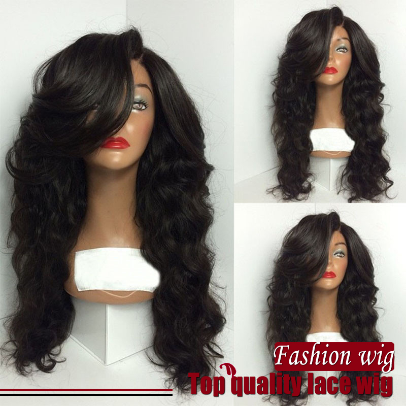 Cheap 7A brazilian synthetic hair wigs for black women deep wave upart wig side bang with baby hair half wigs<br><br>Aliexpress