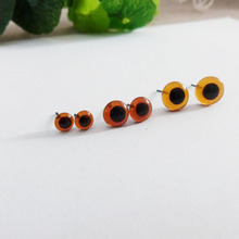 50pcs/lot new arrvial 3/4/5/6/7/8/9/10/11/12mm  coffee color glass toy eyes with pin for diy handcraft maerials--size option