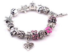 silver plated jewelry factory direct high-quality retro pink oil drops glazed beads hanging heart Bracelets PA0109(China)