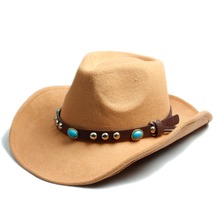 Men Women 100% Wool Felt Sombrero Cap Fedora Hat Western Cowboy Cowgirl Cap Jazz hat Sun Hat Toca Cap with leather band(China)