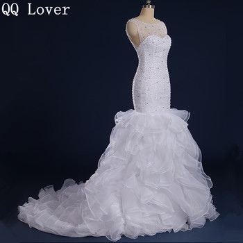 QQ Lover 2017 Mermaid Real Pictures Wedding Dress With Ruffles Ball Gown Wedding Dresses Beaded Vestido De Noiva