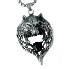 Punk Man Stainless Steel Wolf Head Necklace biker Round Beads chain Animal Pendant Necklace Jewelry Accessories Gift WC0146