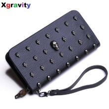 Hot Sale 2018 Women Wallets Metal Skull Wallet Card Purse Leather Wristlet Portefeuille Punk Handbags Carteira Feminina H002(China)