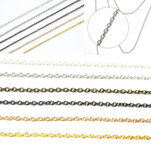 0.6/ 0.7mm Length 2 m Gold Silver Bronze Nickel Plated Chains Link for  DIY Craft  Necklaces Bracelet Jewelry Making Accessories