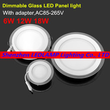 Dimmable LED Panel Light Round Glass Panel Downlight 6W 12W 18W Ceiling Recessed Lights SMD 5630 LED Paine Lamps AC85-265V
