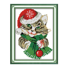 Joy Sunday Chinese crossstitch kits diy Christmas cat hat DMC14CT 11CT cotton fabric babyroom painting kid toy factory wholesale