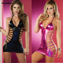 Buy Hot Women Sexy Lingerie patent leather Suit Lace Sexy Dresses Exotic Apparel Sexy Nightwear Mini skirt Underwear Sexual Clothing