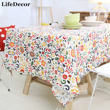 Rustic Flowers Table Cloth 100% Cotton Thickening Tablecloth for Home Wedding Round Rectangle Dining Table Decorations