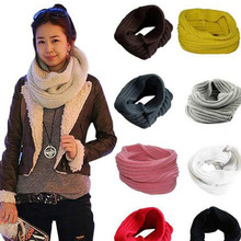 Winter Scarf Knitted Soft Wool Collar Solid Color Neck Warmer Shawl Wraps Warmer Crochet  Women Scarves Female Scarves