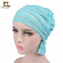 NEW Most popular Women wrinkle Ruffle Chemo Hat Beanie Scarf Turban Headwear for Cancer