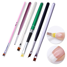 French Tip Nail Brush Acrylic Green Smile Half Moon Shape Painting Drawing Pen with Cap UV Gel Polish Manicure Tools