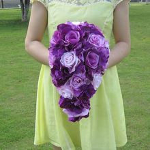Brief Decoration style Cascading Bouquet Bride Teardrop Bouquets Beige Purple Artificial Roses Alternative Wedding Flowers FE75