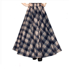 Winter Style Long Skirt Women Large Size High Waist Plaid Maxi Skirt Vintage Big Hem Pleated Woolen Skirts Women Clothing Li094