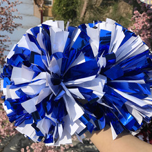 "Free Fast Shipping Cheerleader Pom pom Metallic Royal blue And Plastic White 1,000*3/4""*6"" sizes 18pieces Fully Poms"