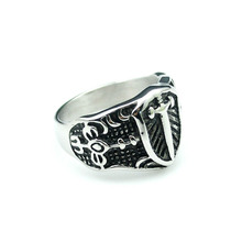 CHIMDOU 2016 New Men's Stainless Steel Sword Rings Exaggerated Knight Domineering Charm Rings Jewelry Wholesale,AR444(China)