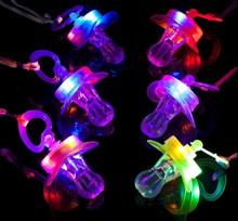 Light Up Pacifier Nipple Whistle Necklace Colorful Flash Led Whistle Stag Hen Party Cheering Glow Props hiking survival tools(China)