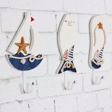Free Shipping Mediterranean Style Wall Hooks Anchors Fish Slipper Boat Shaped Living Room Hanging Decoration Nautical Decor Top(China)