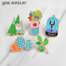 Enamel pins Flower tree leaves succulent plants slingshot brooches Plant pins Plant jewelry Cloth accessories(China)