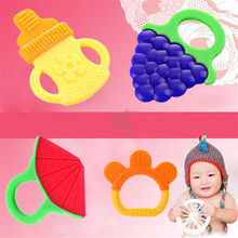 5 Style Silicon Baby Teether Molar Toothbrush Training Tooth Chewing Lovely Fruit Toddler Toys Free Shipping
