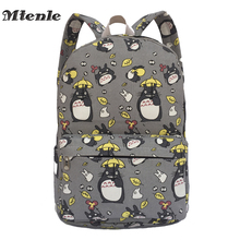 MTENLE Lovely Totoro Printing Canvas Backpack Korean Styles of School Bags Free Shipping -B(China)