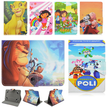 PU Leathet Stand Cover Case Universal 7 inch Tablet The Lion King Robocar Poli Dora Go Diego Go Cartoon For Kids Gift 7.0 Tablet