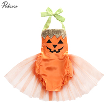 Halloween Baby Newborn Girls Clothes Pumpkin Printed Romper Jumpsuit Skirt Dress Outfits Toddler Cute Orange Costume 0-24M