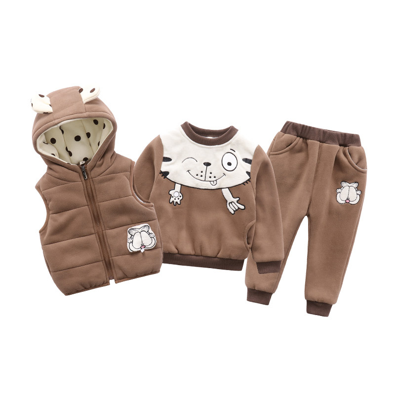 Fashion Children Tracksuits 3 Pieces Hooded Cotton Winter Thick Warm Popular Boys Girls Cartoon Suits New Children Clothing Sets<br>