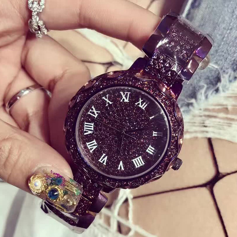 New Arrival Famous Brand Bling Watch Women Luxury Austrian Crystals Watch Purple Shinning Diomand Rhinestone Watches For Women<br>