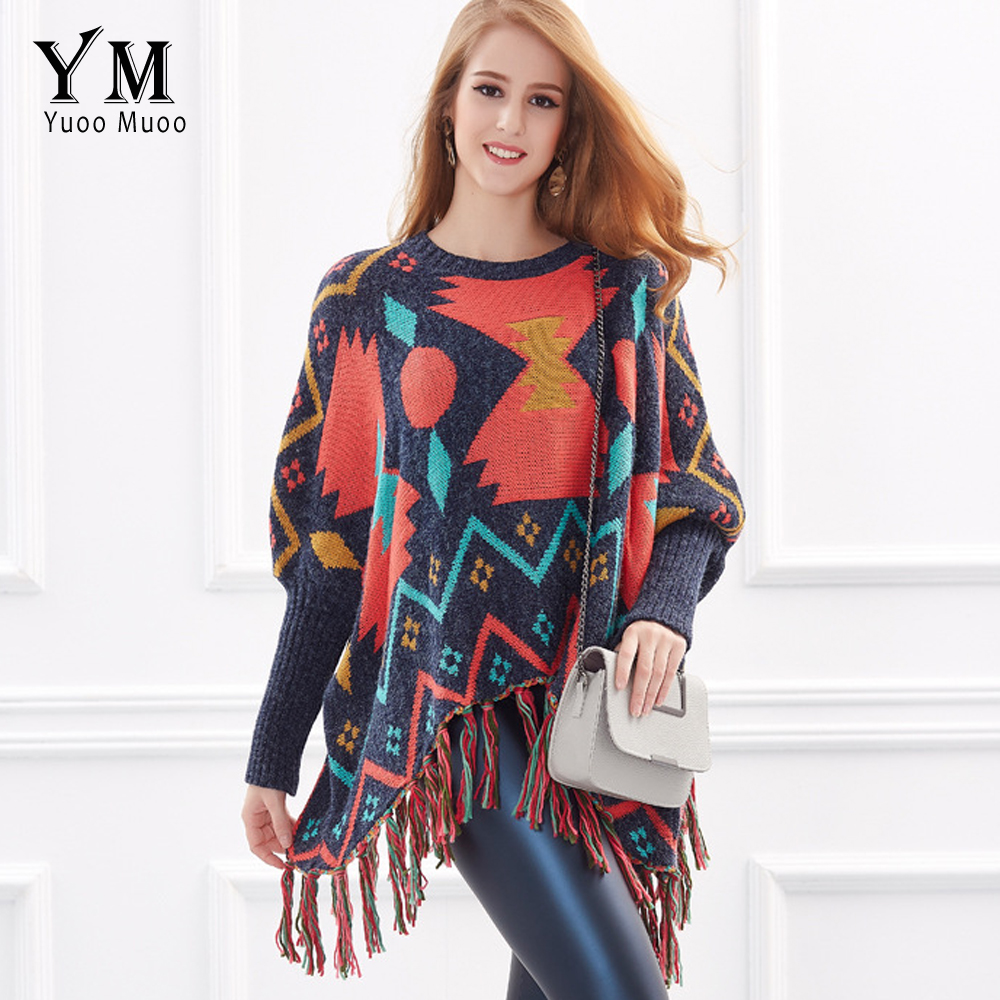 YuooMuoo New High Quality Women Poncho Brand European Vintage Tassel Pullover Ladies Multicolor Autumn Winter Thick Sweater