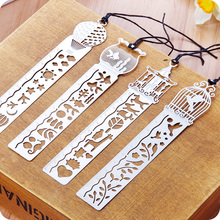 2016 New Cartoon Reading Hollow Metal Bookmark Gift Book Mark for Kids Bookmarks Silver Mark for Student,Reader Book Decoration(China)