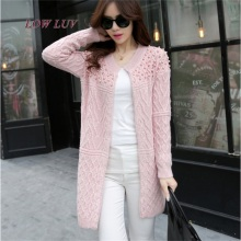 New  women's spring and autumn long cardigan 2017 new female models elegant pocket knitted jacket sweater Cape  / beaded