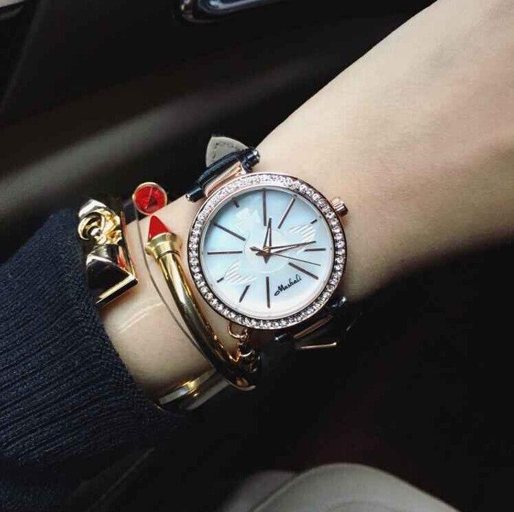 Wristwatches Quartz-Watches High-Grade Womens Watches Genuine Leather Strap The New Design Diamond Pendant<br><br>Aliexpress