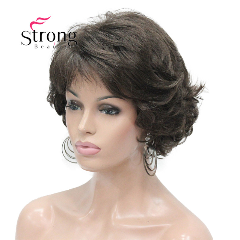 E-7125 #8 New Wavy Curly wig Medium Brown cloor 8# Short Synthetic Hair Full Women's wigs (2)