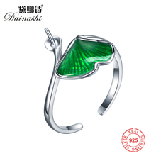 Wholesale 925 Sterling Silver Green Enamel Ring Accessories, Elegant Adjustable Pearl Ring Setting DIY Jewelry Gifts for Women(China)