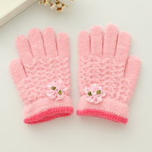 Princess Girls Pink Gloves Soft Warm Imitation Cashmere Glove Beautiful Flower Knit Finger Mittens Kids Girl Winter Accessories(China)