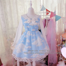 Kawaii Girls Lolita Blue Sky & White Clouds Double Layers Dress Organza Fairy Kei One-piece Sailor Collar White Bow