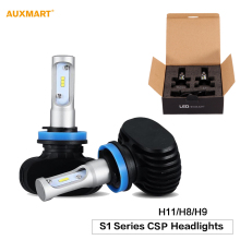 Auxmart S1 H11 H8 H9 50W LED Car Headlight Bulbs 6500K 8000LM Dipped beam Fog Headlamp CSP Cree Chips All-in-One 12v 24v Fanless