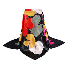 90 cm Women Square Scarves Large Imitated Silk Scarves and Stoles Floral Thin Ladies Office Pashmina Shawls and Wraps Ring Scarf