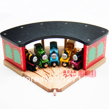 Free Shipping Luxury wooden train track accessories, large 5-way station parking garage room for all train track toys for kids