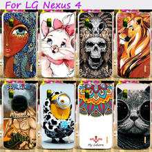 Hard Plastic Cool Skull Cute Minions Flower Phone Cases For LG Google Nexus 4 E960 4.7 inch Nexus4 Phone Cover Accessories Hood
