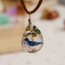 6pcs/lot Unique Blue Bird Necklaces Animal Vintage Double Water Drop Shaped Cabochon Jewelry Leather Necklaces XL125